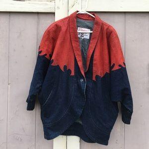 Vintage Diamond Denim & Leather Jacket